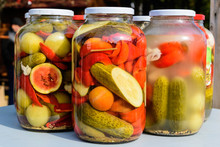 Three Jars With Mixed Pickles ...