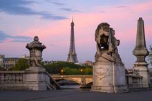 Paris Cityscape With Eiffel Tower And Lions On Alexandre Bridge