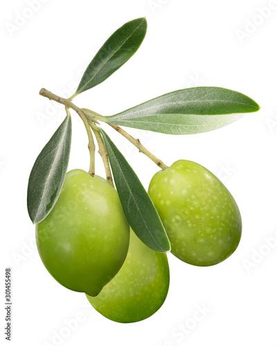 Fond de hotte en verre imprimé Oliviers Green olives on branch w leaves, paths