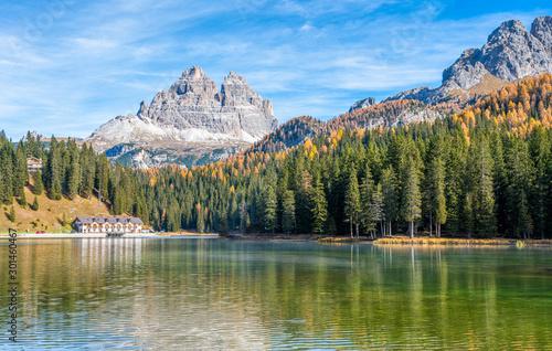 Idyllic autumnal landscape at Lake Misurina, Auronzo di Cadore, Veneto, Italy Canvas Print