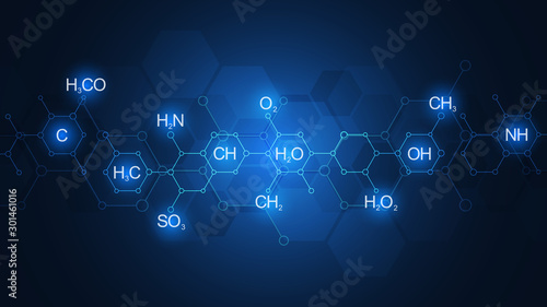 Abstract chemistry pattern on dark blue background with chemical formulas and molecular structures Canvas Print