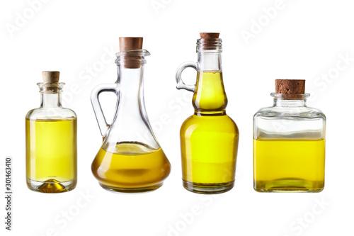 Fototapeta Set of virgin olive oil jars isolated on a white background obraz