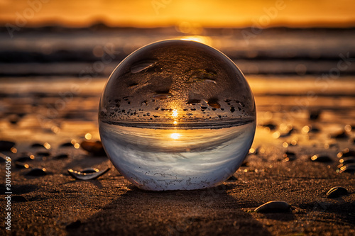sunset in crystal ball Canvas Print