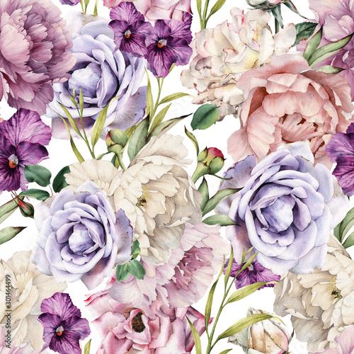 Obraz Kwiatowy wzór z kwiatami, akwarela, sztuka botaniczna - fototapety do salonu