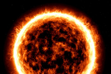 Illustration Of Fiery Ball Of A Burning Star, Solar Disk.