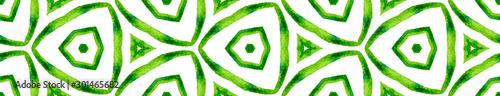 Fotografia  Green kaleidoscope Seamless Border Scroll. Geometr