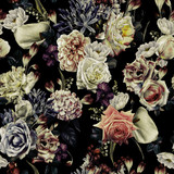 Bezszwowy kwiecisty wzór z kwiatami, akwarela. Projekt szablonu dla tekstyliów, wnętrz, ubrań, tapet. Sztuka botaniczna - 301466418