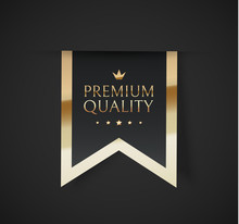 Premium Quality Vector Badges. Luxury Black Labels. Vector Illustration