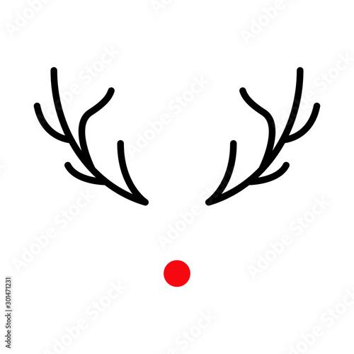 Valokuvatapetti Icono navideño con nariz y astas de reno Rodolfo en color rojo y negro en fondo
