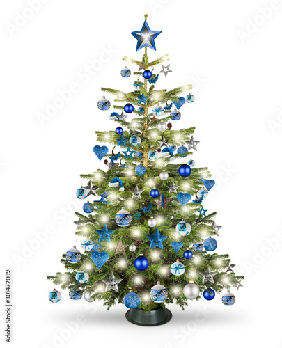 real natural nordmann xmas christmas tree with petrol blue turquoise silver and wooden decoration. bauble star heart and bright led lights isolated white background - 301472009