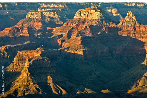 Photo Grand Canyon Rock Formations Vivid Striations, Shadows and Textures