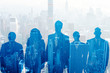 Group of businessperson. Human Resources. Global network. Double exposure of group of businessperson and cityscape.