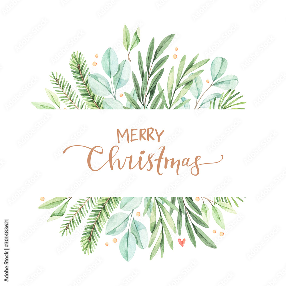 Fototapety, obrazy: Christmas frame with eucalyptus, fir branch and holly - Watercolor illustration. Happy new year. Winter background with greenery elements. Perfect for cards, invitations, banners, posters etc