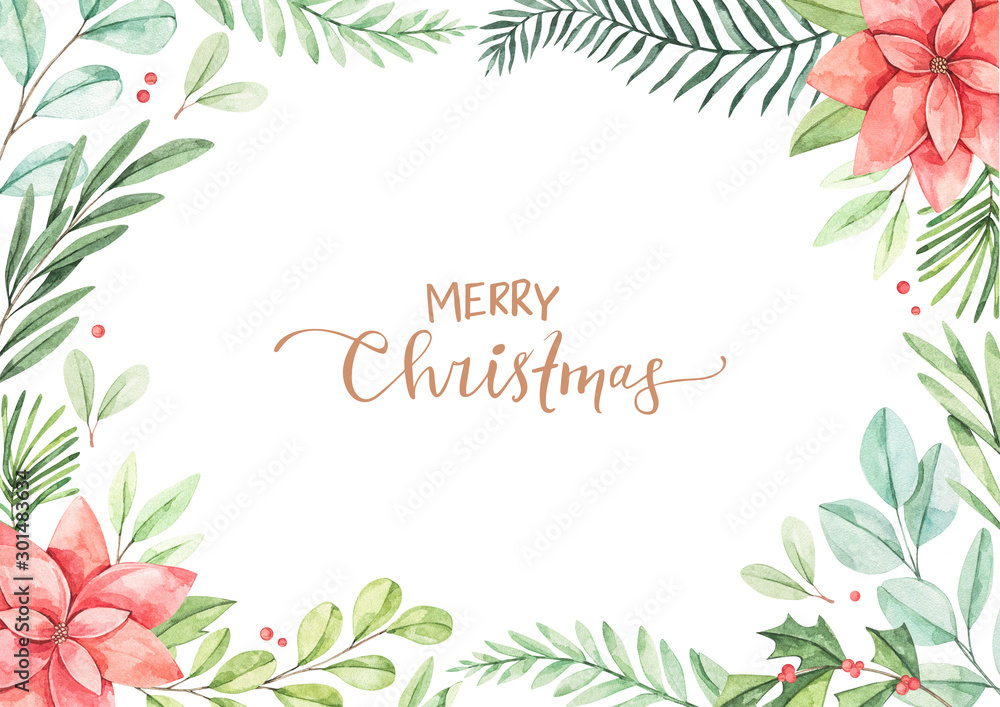 Fototapety, obrazy: Christmas frame with eucalyptus, fir branch, poinsettia and holly - Watercolor illustration. Happy new year. Winter background with greenery elements. Perfect for cards, invitations, banners, posters