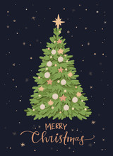 Vector Illustration With Christmas Tree And Decorations. Happy New Year. Winter Pre Made Card With Lettering. Noel. Holly Jolly. Holiday Postcard. Perfect For Cards, Invitations, Banners, Posters