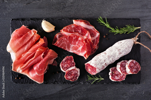 Meat appetizer platter with sausage, and Italian cold cuts Canvas Print
