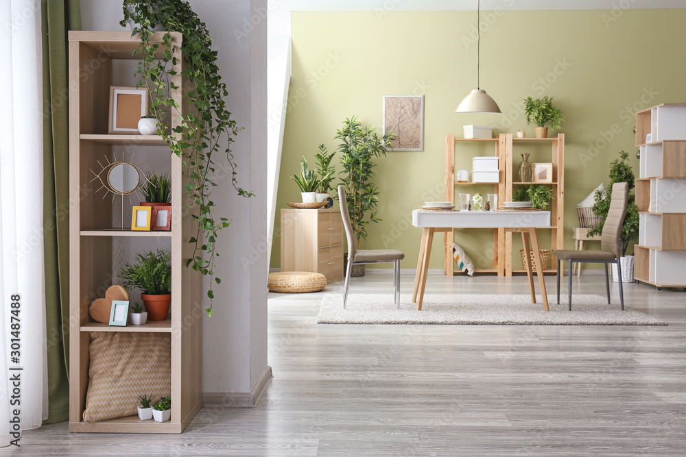 Fototapety, obrazy: Interior of dining room with green houseplants