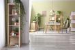 Leinwandbild Motiv Interior of dining room with green houseplants