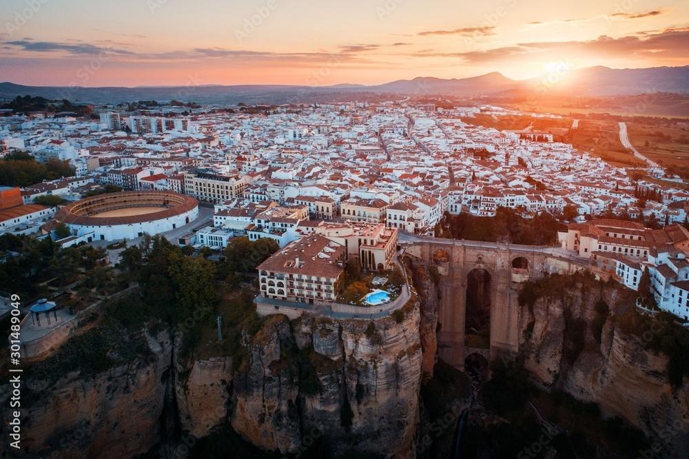 Fototapeta Ronda aerial view sunrise