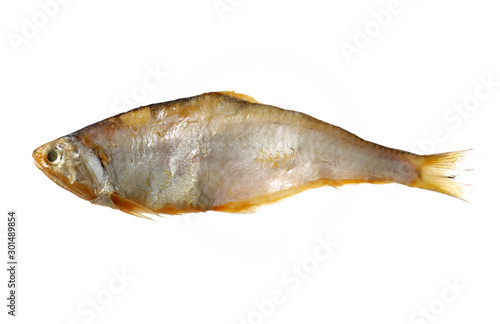 Drying fish on white background Wallpaper Mural
