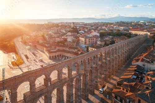 Segovia Roman Aqueduct aerial sunrise view