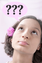 Portrait Of A Brown-eyed Girl Who Thought, Pink Cloud With Question Marks