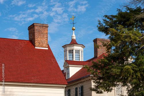 Fototapeta Detail of the weathervane and roof windows at Mount Vernon near Washington DC obraz