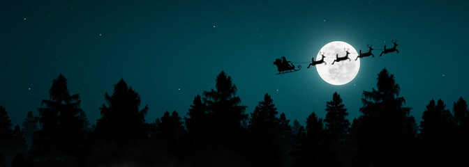 Panoramic of Santa Claus flying in his sleigh over the moon