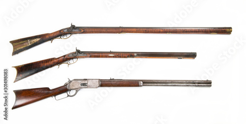 Three Antique Rifles made from 1840 to 1876. Canvas Print