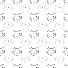 Vector white cat face seamless pattern background. Perfect for fabric, scrapbooking, wallpaper, package design and wrapping paper.