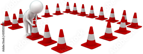 Obraz 3d man arranging traffic cones concept - fototapety do salonu