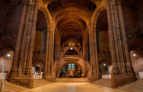 LIVERPOOL, ENGLAND, DECEMBER 27, 2018: Panoramic view of the magnificent huge entrance hall of the Church of England Anglican Cathedral of the Diocese of Liverpool.