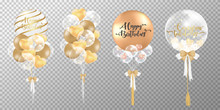 Golden Balloons On Transparent...