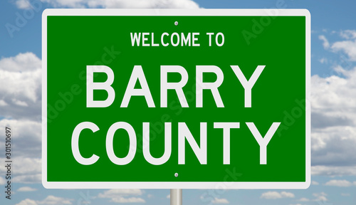 Fotografia  Rendering of a green 3d highway sign for Barry County