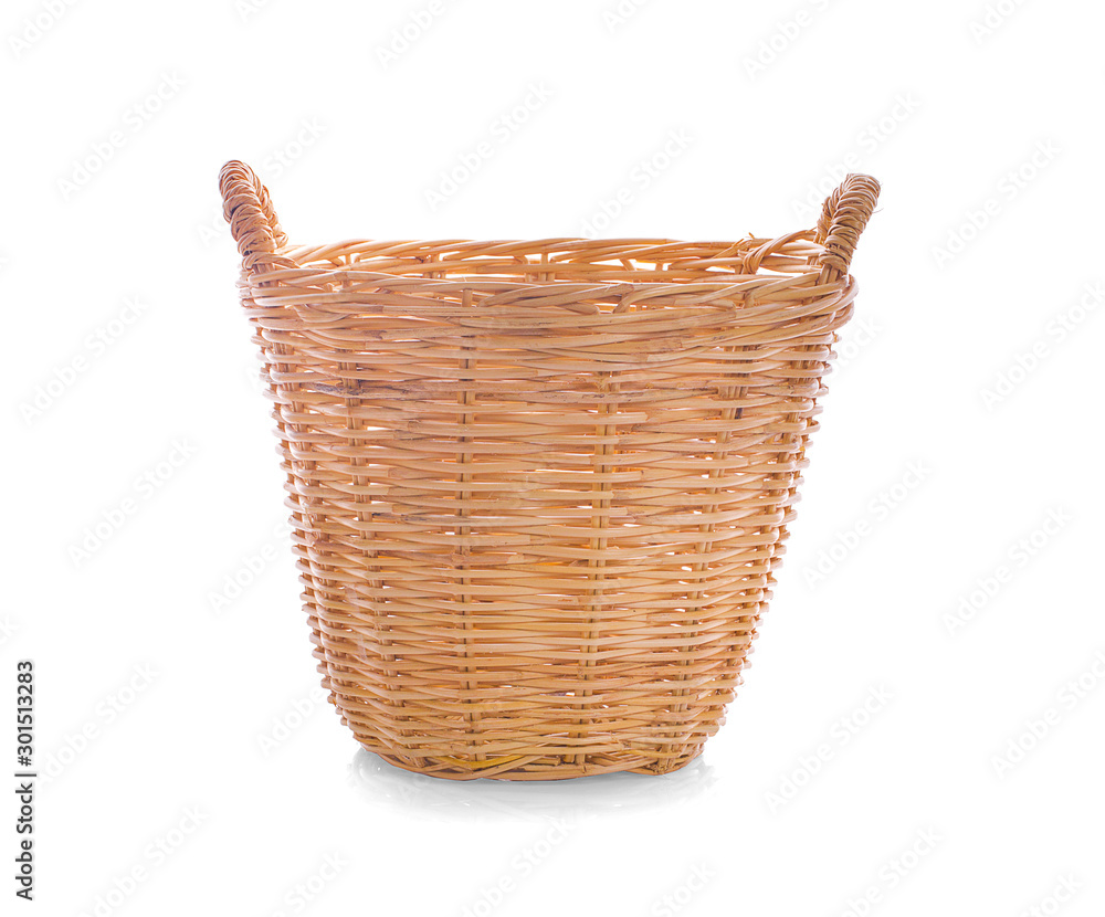 Fototapety, obrazy: Vintage weave wicker basket an isolated on white background