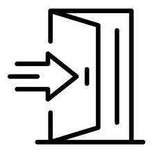 Open Door With Arrow Icon. Out...
