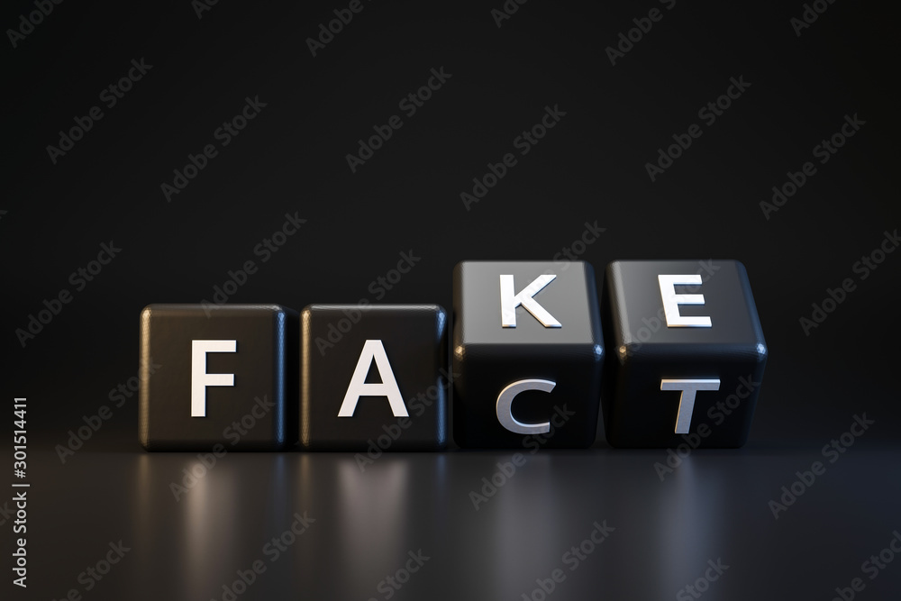 Fototapeta Black dice and fact or fake with April fools day concept on dark background. Misleading and changing communication. April fools day. Realistic 3D render.