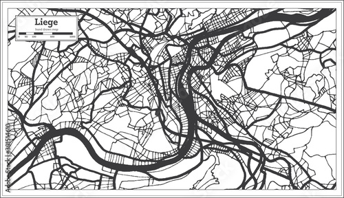 Fotografie, Obraz Liege Belgium City Map in Black and White Color. Outline Map.