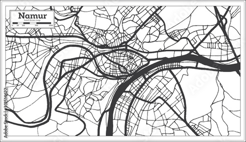 Photo Namur Belgium City Map in Black and White Color. Outline Map.