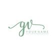 Handwriting G V GV initial logo template vector