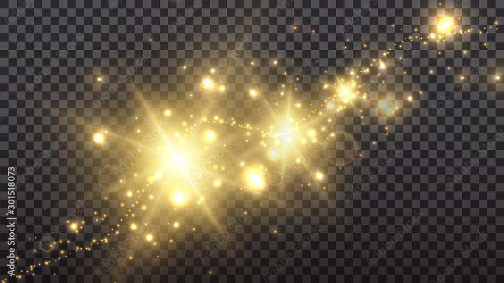 Fototapeta Golden shine sparkle flash