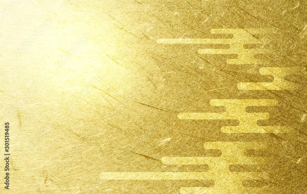 Fototapeta 雲のパターンと金色の和紙の背景(アブストラクト)