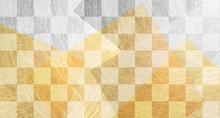 市松模様と金色の和紙の背景(アブストラクト)