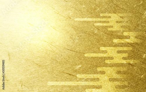 雲のパターンと金色の和紙の背景(アブストラクト) Fototapet