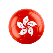 Soccer Football Ball With Flag Of Hong Kong.