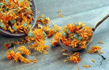 Dried Calendula Flowers In A W...