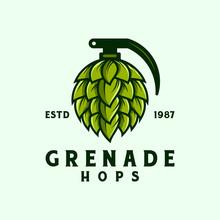 Grenade Hops Badge Logo Design Illustration