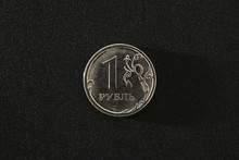 One Russsian Rouble Coin On A ...