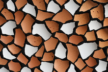 Broken Eggshell Shards On Black. Brown And White Pieces Texture. Abstract Creative Background. Closeup