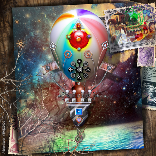 Recess Fitting Imagination Starry night over the sea with vintage hot air balloon postcard in flight